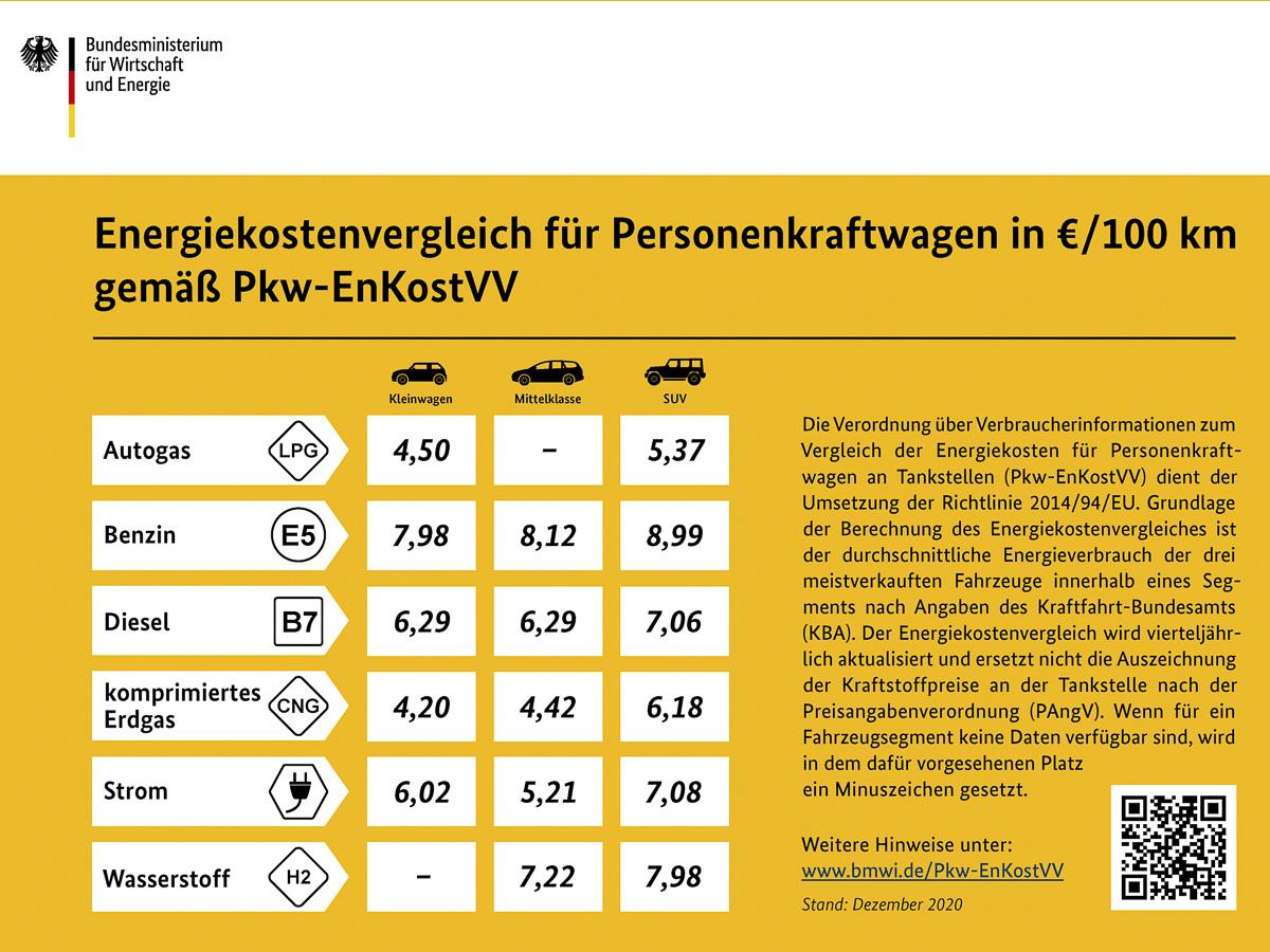 Autogas beim Vergleich der Energiekosten für PKW weit vorne